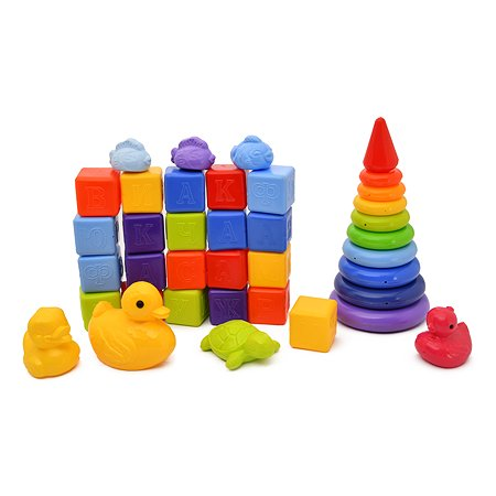 Набор развивающий Росигрушка Кроха XL пирамидка+21кубик+7фигур 6150