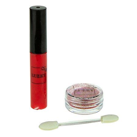 Набор Lukky(LUCKY) Блестящие губы с ароматом клубники 3предмета Красный Т16149
