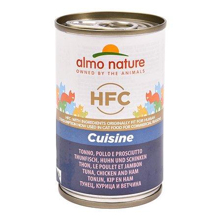 Корм влажный для кошек ALMO NATURE Classic 140 г тунец-курица-ветчина консервированный