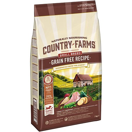 Корм для щенков Country Farms Grain Free с индейкой 7кг