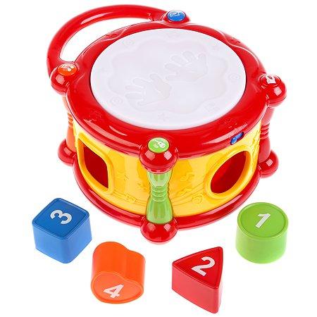 Игрушка развивающая УМка Барабан-сортер песенки потешки звуки музыкальных инструментов 263414