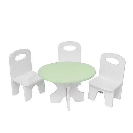 Мебель для кукол PAREMO Классика набор 4предмета Белый-салатовый PFD120-41