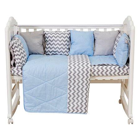 Комплект в кроватку Polini kids Зигзаг 5предметов Серо-голубой