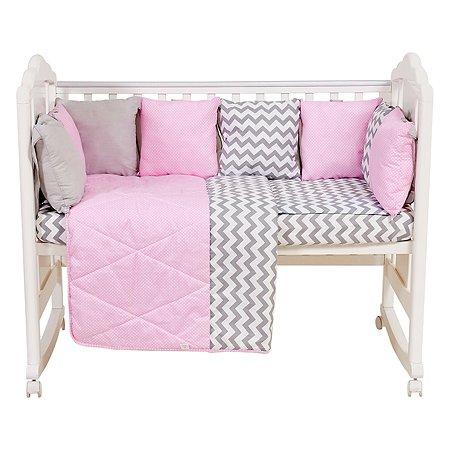 Комплект в кроватку Polini kids Зигзаг 5предметов Серо-розовый
