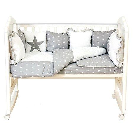 Комплект в кроватку Polini kids Звезды 5предметов Серый