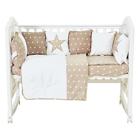 Комплект в кроватку Polini kids Звезды 5предметов Макиато