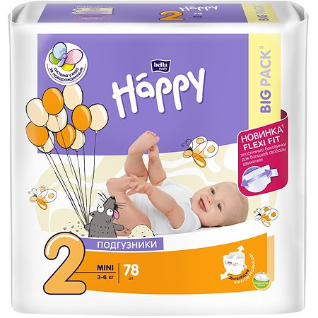 Подгузники Bella baby Happy Mini 2 3-6кг 78 шт