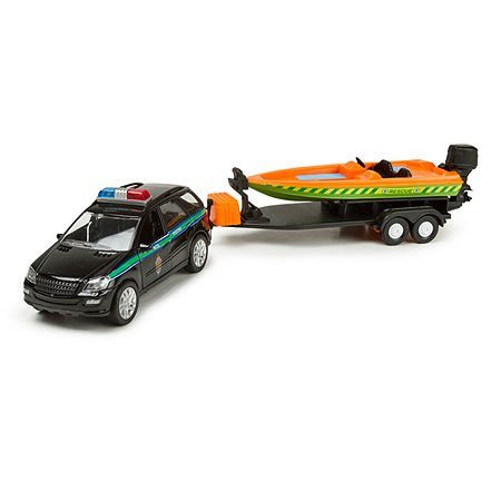 Машина Autotime с прицепом (черный внедорож)Рус.серия