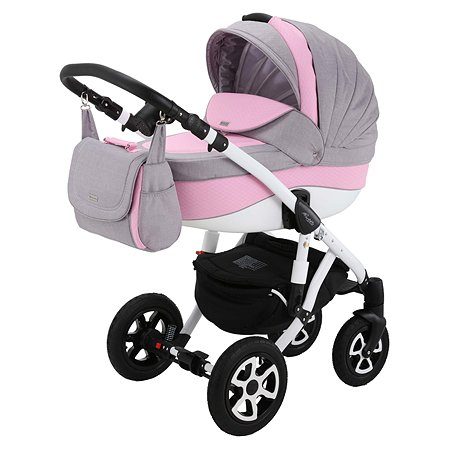 Коляска 3в1 Adamex Barletta Eco 366S Светло-Серый+Розовая Ромб Кожа
