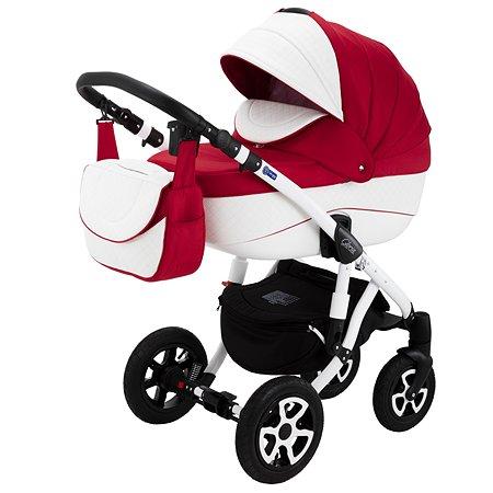 Коляска 2в1 Adamex Gloria Eco 371S Красный+Белый Ромб кожа