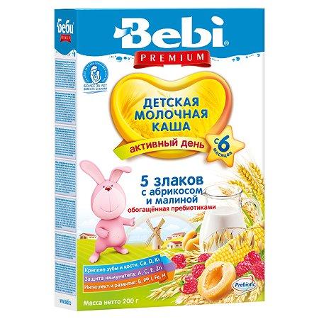 Каша Bebi Premium молочная 5 злаков с абрикосом и малиной 200г с 6 месяцев