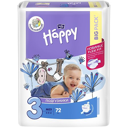 Подгузники Bella baby Happy Midi 3 5-9кг 72 шт