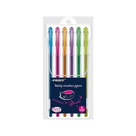 Ручки гелевые Proff 6 цв. флуоресцентные 0.5 мм