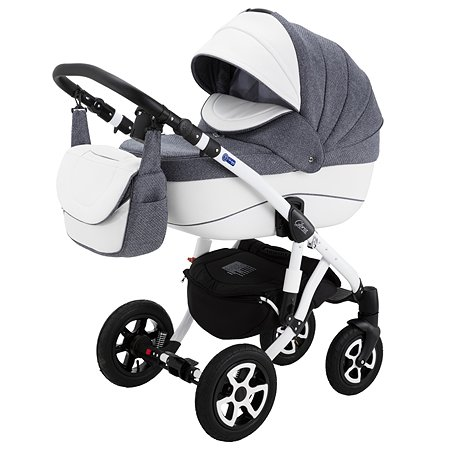 Коляска 2в1 Adamex Gloria Eco 363S Серый Вязанка+Белая кожа