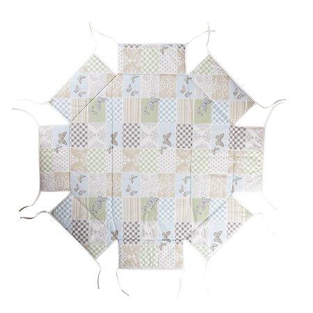 Мягкий бампер для манежа Geuther Octo-Parc бело-бежевый с бабочками и узорами