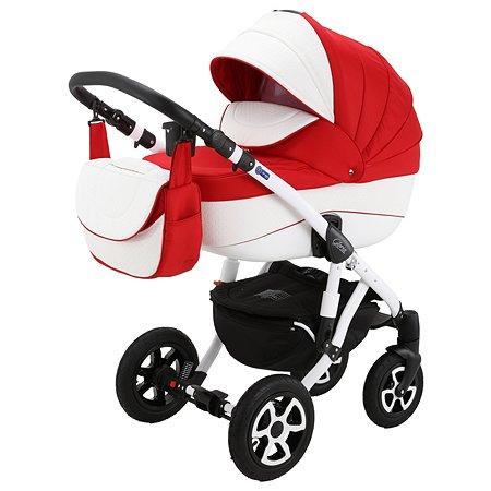 Коляска 2в1 Adamex Gloria Eco 371S-A Красный+Белая перфорированная кожа