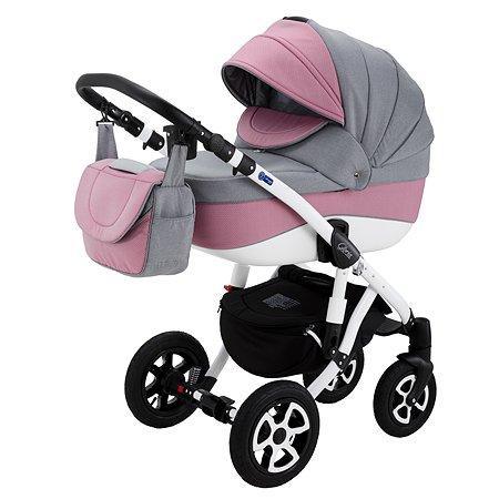 Коляска 3в1 Adamex Gloria 90L Светло-Серый+Розовый