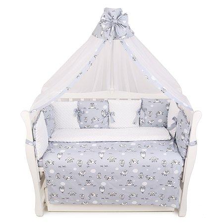 Комплект постельного белья AMARO BABY Mild design edition Засыпайка 7предметов Серый