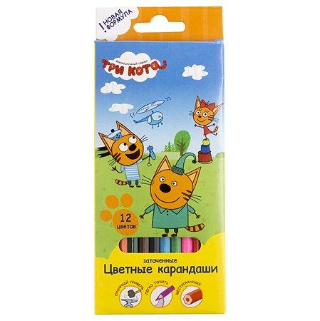 Набор цветных карандашей Kinderline Три кота 12шт