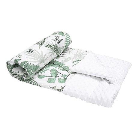 Плед AMARO BABY Mild design edition Зеленые листья Белый-Зеленый