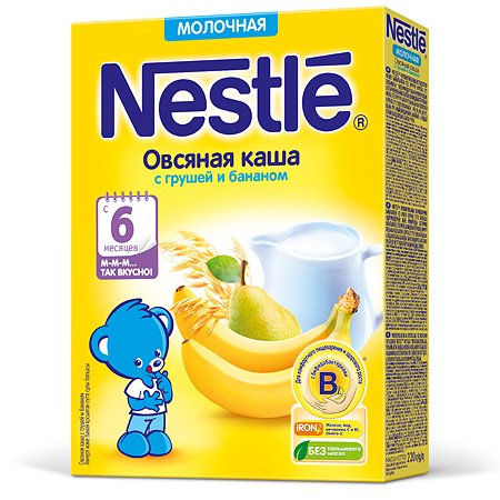 Каша Nestle молочная овсяная с грушей и бананом 220г 6месяцев