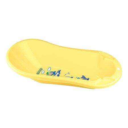 Ванна детская Пластишка со сливом и аппликацией желтая