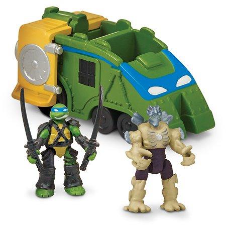 Набор Ninja Turtles(Черепашки Ниндзя) Микро Боевой локомотив Черепашек-ниндзя с фигурками Лео и Шредера