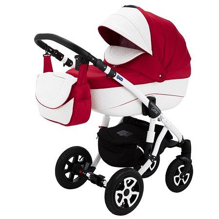 Коляска 3в1 Adamex Gloria Eco 371S Красный+Белый Ромб кожа