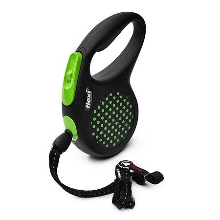 Рулетка Flexi Design М трос 5м до 20кг Черный-Зеленый горох