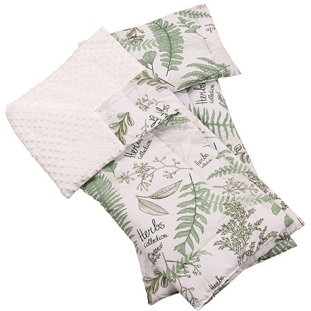 Комплект в коляску AMARO BABY Mild design edition Зеленые листья 3предмета Белый-Зеленый