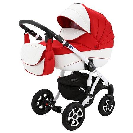 Коляска 3в1 Adamex Gloria Eco 371S-A Красный+Белая перфорированная кожа
