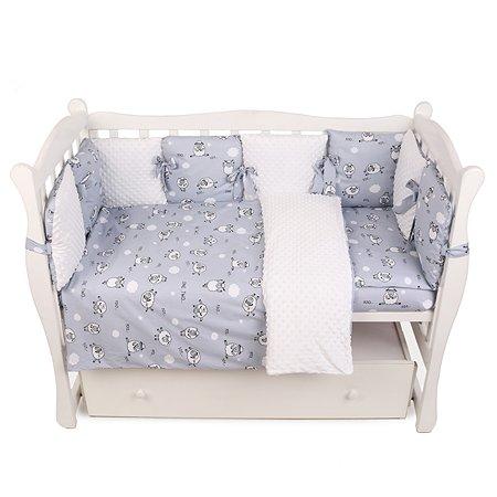 Бортик в кроватку AMARO BABY Mild design edition Засыпайка 12подушек Серый