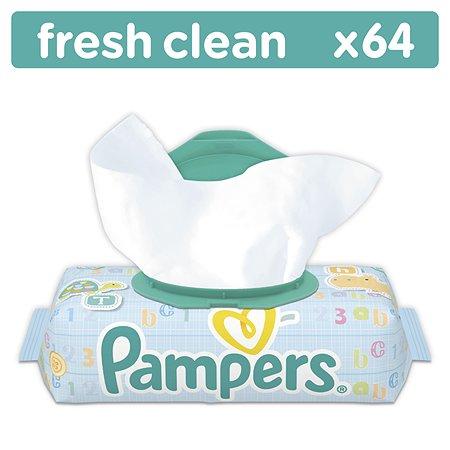 Салфетки Pampers Baby Fresh Clean, влажные сменный блок 64 шт в ассортименте