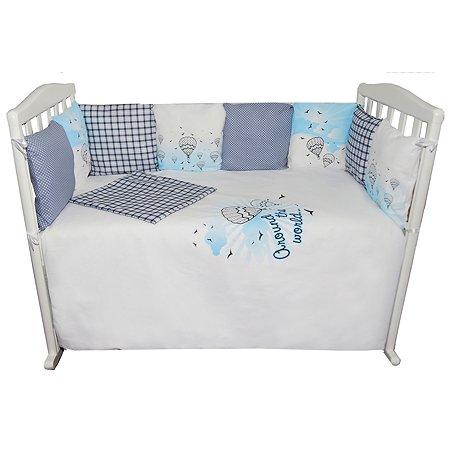 Комплект в кроватку Эдельвейс 6 предметов Голубой
