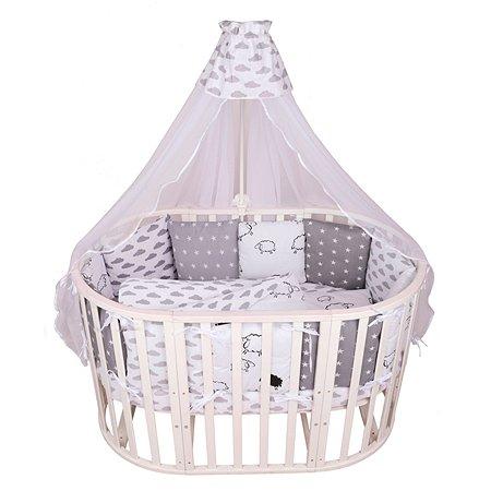 Комплект постельного белья AMARO BABY Нежный Сон 8предметов Белый-Серый