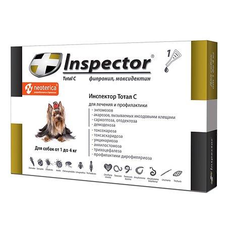 Капли для собак Inspector до 4кг от внешних и внутренних паразитов 0.4мл