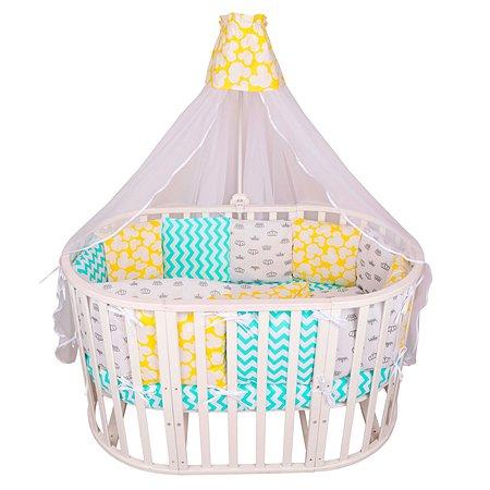 Комплект постельного белья AMARO BABY Радость 8предметов Мятный-Желтый
