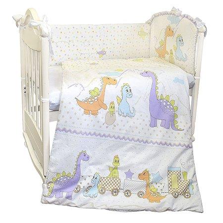 Комплект в кроватку L'Abeille Динозаврики 4 предмета Белый-Зеленый