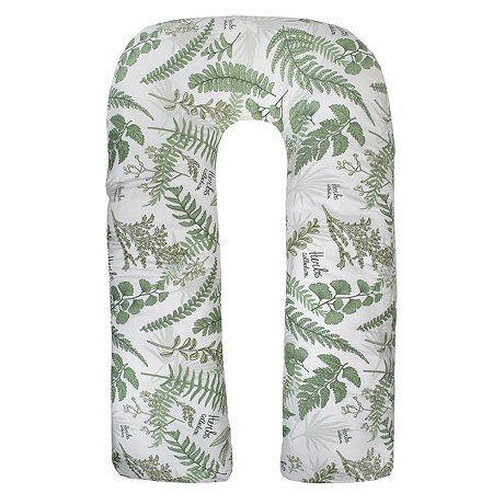 Подушка для беременных AMARO BABY Mild design edition Зеленые листья U-образная Белый-Зеленый