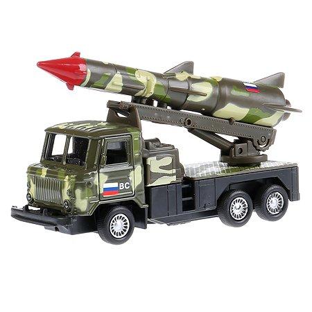 Машина Технопарк Газ 66 с ракетой инерционная Зеленый камуфляж 239657