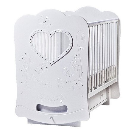 Кроватка ЛЕЛЬ Baby Sleep-2 (сердце) с поперечным качанием. Бабочки (со стразами) белая