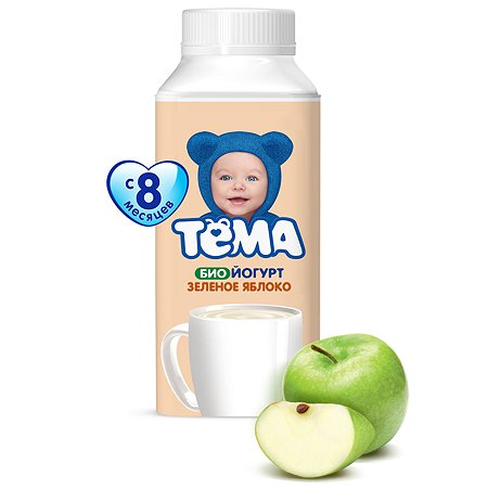 Биойогурт питьевой Тёма зеленое яблоко(с витаминами) 2.8% 210г