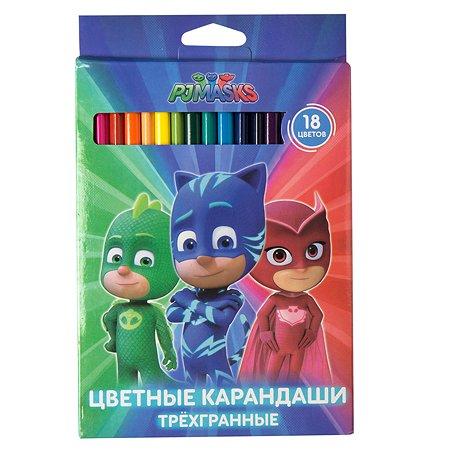 Карандаши Росмэн PJ Masks трехгранные 18цветов 34072