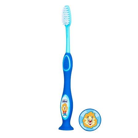 Зубная щетка Chicco с присоской с 3лет Голубая