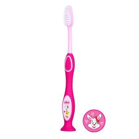 Зубная щетка Chicco с присоской с 3лет Розовая