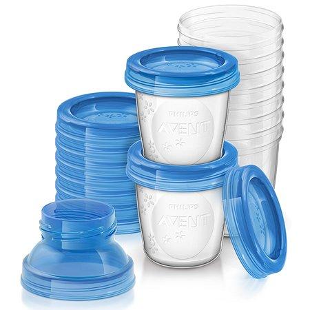 Набор контейнеров Philips Avent с крышкой для хранения грудного молока 180 мл SCF618/10