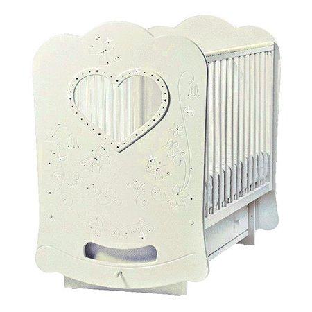Кроватка ЛЕЛЬ Baby Sleep-2 (сердце) с поперечным качанием. Бабочки (со стразами) ваниль