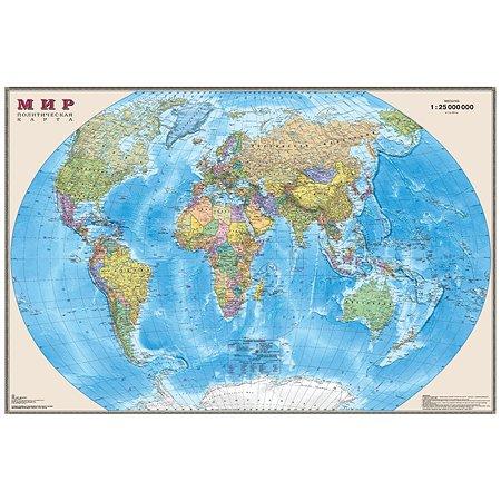 Карта Ди Эм Би Мир политическая 1:25 настенная ламинация