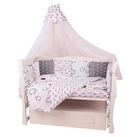 Бортик в кроватку AMARO BABY Нежный сон 12подушек Белый-Серый
