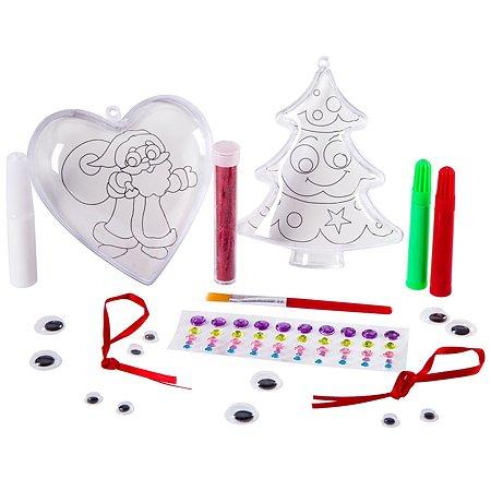 Набор Bondibon для творчества Новогодние фигурки с сюрпризом (ёлочка. сердце) ВВ2357